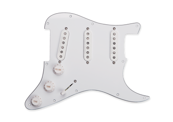 The California 50's pickup set from Seymour Duncan is now available pre-assembled in a loaded pickguard format. Assembled in the Seymour Duncan facility in Santa Barbara, California, the loaded pickguard contains everything you need for a quick swap or a new custom build on your Stratocaster. The pickguard comes completely assembled with Bourns potentiometers with USA-sized knurled shaft, custom-manufactured to Seymour Duncan's specifications along with a vintage style 5-way switch, matching knobs and switch tip, and vintage cloth push-back wire. Matches the most common USA 11-hole pattern. Specification Contains everything you need for a quick swap or a custom build
