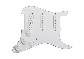 With three of our patented Stack Plus pickups, this prewired pickguard delivers big, beefy tones without sacrificing the chime and sparkle of a great vintage Strat. The Custom Stack Plus in the bridge position gives you a full, fat sounding bridge tone. The Vintage-Hot Stack Plus gives you a little thicker neck tone. And the Classic Stack Plus in the middle gives you a variety of vintage flavourings in positions 2, 3, & 4. Overall, you get a truly versatile, noiseless setup that can be dropped into your Strat. Any future pickup changes you decide to make will be a snap because this pickguard comes equipped with a Liberator solderless system that makes swapping pickups fast and easy. There is also a coil-splitting option that lets you choose between hum-cancelling Stack mode and traditional single-coil operation. Hand built in Santa Barbara, CA, this fully loaded pickguard comes with our Liberator solderless pickup system and uses an 11 screw USA pickguard pattern. These pickups all use alnico 5 rod magnets, 3-conductor splittable leadwire, and are vacuum wax potted for squeal free operation.