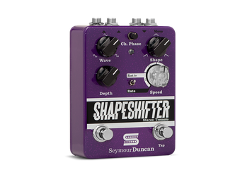 "Summary The Shape Shifter is a stereo tremolo designed to deliver the classic textures you love with the capability to render extreme effects such as helicopter chops, piano stabs or backwards swells.  Description The Shape Shifter is the most versatile tremolo pedal you will find, whether your style is a classic textural vibe or unexpectedly experimental. The Shape knob lets you control how evenly the signal rises and falls; set it in the middle for a traditional, even rise-and-fall effect, or turn it left or right for wild effects that can simulate backwards recording or the attack of an analog synth. When you're running in stereo, the mini Phase knob lets you select whether the pedal is in phase or up to 180 out of phase, taking you from a traditional stereo effect to a swirly phase tone that effectively feels like surround-sound. Use the Speed control or Tap Tempo foot switch to set your modulation speed from 0.5 pulses-per-second to over 15 pulses-per-second, and the Ratio/Rate mini-switch to select whether the Speed knob acts as a straight rate control or as a selector for between 1:1, 2:1, 3:1 or 4:1 speeds relative to the Tap Tempo. The illuminated Speed knob gives you an instant visual indicator of the effect speed, and it's always flashing so you know where you're at before you hit the effect switch. The volume auto adjusts so you avoid the ""dip"" that sometimes comes with tremolo pedals. And stereo inputs and outputs mean you can get creative with your signal chain.  Like all of our pedals, the Shape Shifter is True Bypass and is designed and assembled at our Santa Barbara, California factory by the same team responsible for our legendary pickups."