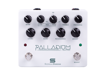 The Seymour Duncan Palladium Gain Stage Overdrive is an innovative new guitar pedal designed to offer the rich, dynamic and full tone of high gain valve amplifiers. Incorporating three adjustable gain stages the Seymour Duncan Palladium can be used with power amplifiers or amplifier clean channels to create crunching valve tones right up to super modern hi-gain tones. Also with a built in three band EQ and on board boost switch for cutting through a live mix the Palladium Gain Stage Overdrive is an extremely versatile overdrive pedal perfect for a achieving authentic valve gain tones.