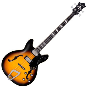 "<div align=""center""> <div align=""center""> <p class=""p1""><span style=""font-family: arial; font-size: medium;""><em><strong>HAGSTROM VIKING BASS</strong></em></span></p> <p class=""p1""><span style=""font-family: arial; font-size: medium;""><em>Introduced as the Concord bass in 1965, Hagstrom's Viking® bass injects some tactfully chosen vigor into an all-time classic design. This meticulously crafted semi-hollow bass with a short 30.75-inch (781 mm) scale is fitted with Hagstrom's custom-voiced Dyna-Rail humbucking pickups. A brilliantly designed 6-way rotary switch allows switching between various humbucking and single-coil configurations for a dizzying array of tonal options.  From 60's Brit-rock to modern day low-end goodness, the Viking® bass delivers ear-candy galore.</em></span></p> <p class=""p1""><span style=""font-family: arial; font-size: medium;""><em> </em></span></p> <p class=""p1""><span style=""font-family: arial; font-size: medium;""><em><strong>H-EXPANDER</strong></em></span></p> <p class=""p1""><span style=""font-family: arial; font-size: medium;""><em>All Hagstrom electric guitars and basses include our patented H-Expander™ truss rod. Providing tension at both ends and running the entire length of the neck, the rigid yet light-weight alloy truss rod allows for a very low action and thin neck, two factors that were instrumental in earning Hagstrom its reputation as the world's fastest playing guitar. The H-Expander™ truss rod not only provides ultimate neck stability, but it also contributes to Hagstrom's unique tone.  Longer sustain and a round attack are some of the sonic characteristics the H-Expander™ adds to the tonal essence of Hagstrom.</em></span></p> <p class=""p1""><span style=""font-family: arial; font-size: medium;""><em> </em></span></p> <p class=""p1""><span style=""font-family: arial; font-size: medium;""><em><strong>HAGSTROM MACHINE HEADS</strong></em></span></p> <p class=""p1""><span style=""font-family: arial; font-size: medium;""><em>Hagstrom models use 18:1 or 15:1 gear ratio machine heads based on our own designs to insure accurate tuning. Viking® and HB series basses feature machine heads with a 17:1 gear ratio.</em></span></p> <p class=""p1""><span style=""font-family: arial; font-size: medium;""><em> </em></span></p> <p class=""p1""><span style=""font-family: arial; font-size: medium;""><em><strong>RESINATOR WOOD</strong></em></span></p> <p class=""p1""><span style=""font-family: arial; font-size: medium;""><em>Resinator™ wood is a wood composite material that is both more uniform in density and more stable than any standard wood product. These characteristics eliminate dead spots or ""wolf tones"" sometimes associated with conventional wood fingerboards. Resinator™ wood has an articulate sound similar to high quality ebony, but without any of the problems associated with ebony. It provides a stable and clear tone, and also adds higher overtones and harmonics which uniquely detail each note. Like our H-Expander™ truss rod, Resinator™ wood is a major contributor to the distinctive ""Hagstrom tone"".</em></span></p> <p class=""p2""> </p> <p class=""p2""> </p> <div><span style=""font-family: arial; font-size: medium;""> </span></div> <p class=""p1""> </p> <p class=""p4""> </p> <p class=""p1""><strong><span style=""font-family: arial; font-size: medium;""><span style=""text-decoration: underline;"">SPECIFICATIONS:</span></span></strong></p> </div> </div> <div align=""center""> <div align=""center""> <div align=""center""> <div align=""center""> <div align=""center""><span style=""font-family: arial; font-size: medium;""><strong>BODY</strong></span></div> <div align=""center""><span style=""font-family: arial; font-size: medium;"">Material : Ply Maple</span></div> <div align=""center""><span style=""font-family: arial; font-size: medium;"">Top : Contoured</span></div> <div align=""center""><span style=""font-family: arial; font-size: medium;"">Style : Semi-Hollow</span></div> <div align=""center""><span style=""font-family: arial; font-size: medium;""> </span></div> <div align=""center""><span style=""font-family: arial; font-size: medium;""><strong>NECK</strong></span></div> <div align=""center""><span style=""font-family: arial; font-size: medium;"">Joint : Set Neck</span></div> <div align=""center""><span style=""font-family: arial; font-size: medium;"">Material : Canadian Hard Maple</span></div> <div align=""center""><span style=""font-family: arial; font-size: medium;"">Truss Rod : H-Expander™</span></div> <div align=""center""><span style=""font-family: arial; font-size: medium;""> </span></div> <div align=""center""><span style=""font-family: arial; font-size: medium;""><strong>FINGERBOARD/NUT</strong></span></div> <div align=""center""><span style=""font-family: arial; font-size: medium;"">Material : Resinator™</span></div> <div align=""center""><span style=""font-family: arial; font-size: medium;"">Radius : 15""</span></div> <div align=""center""><span style=""font-family: arial; font-size: medium;"">Inlays : Pearl Block</span></div> <div align=""center""><span style=""font-family: arial; font-size: medium;"">Frets : 21 Medium Jumbo</span></div> <div align=""center""><span style=""font-family: arial; font-size: medium;"">Scale Length : 30,75"" (781 mm)</span></div> <div align=""center""><span style=""font-family: arial; font-size: medium;"">Nut : GraphTech Black Tusq XL</span></div> <div align=""center""><span style=""font-family: arial; font-size: medium;"">Nut Width : 40 mm</span></div> <div align=""center""><span style=""font-family: arial; font-size: medium;""> </span></div> <div align=""center""><span style=""font-family: arial; font-size: medium;""><strong>ELECTRONICS</strong></span></div> <div align=""center""><span style=""font-family: arial; font-size: medium;"">Pickups : 2 x Dyna Rail - Viking® Bass N/B</span></div> <div align=""center""><span style=""font-family: arial; font-size: medium;"">Pickup Selector : 6-Way Rotary</span></div> <div align=""center""><span style=""font-family: arial; font-size: medium;"">1 - Neck + Bridge, Single coil (Outer coils)</span></div> <div align=""center""><span style=""font-family: arial; font-size: medium;"">2 - Bridge, Single Coil (Outer Coil)</span></div> <div align=""center""><span style=""font-family: arial; font-size: medium;"">3 - Neck, Single Coil (Outer Coil)</span></div> <div align=""center""><span style=""font-family: arial; font-size: medium;"">4 - Neck + Bridge, Humbucking</span></div> <div align=""center""><span style=""font-family: arial; font-size: medium;"">5 - Bridge, Humbucking</span></div> <div align=""center""><span style=""font-family: arial; font-size: medium;"">6 - Neck, Humbucking</span></div> <div align=""center""><span style=""font-family: arial; font-size: medium;"">Controls : 2 x Volume / 2 x Tone</span></div> <div align=""center""><span style=""font-family: arial; font-size: medium;""> </span></div> <div align=""center""><span style=""font-family: arial; font-size: medium;""><strong>PARTS</strong></span></div> <div align=""center""><span style=""font-family: arial; font-size: medium;"">Bridge : Long Travel Tune-O-Matic with Hagstrom Trapeze Tail Piece</span></div> <div align=""center""><span style=""font-family: arial; font-size: medium;"">Tuning Keys : Hagstrom Design 17:1</span></div> <div align=""center""><span style=""font-family: arial; font-size: medium;"">Original Strings Guages : .45 - .95</span></div> </div> <div align=""center""><span style=""font-family: arial; font-size: medium;""> </span></div> <div align=""center""><span style=""font-family: arial; font-size: medium;""><strong>Finish :</strong> Tobacco Sunburst</span></div> </div> <div align=""center""><span style=""font-family: arial; font-size: medium;""> </span></div> <div align=""center""><span style=""font-family: arial; font-size: medium;""><strong>Weight :</strong> 8.6 lbs / 3.9 kg</span></div> </div> </div>"