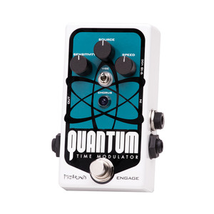 <p>Pigtronix Quantum Time Modulator produces a parallel universe of analog time stretching effects with only three knobs and a single switch.  Reflecting the fundamental principals of modern atomic physics in pedal form, the Pigtronix Quantum can be in any number of places at once and will change in response to both input and observation</p>