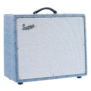 "<p>The SuproS6420+ Thunderbolt is a 50th anniversary reissue of the 1964 Supro Thunderbolt 1x15 tube amplifier.  Staying true to its vintage spec with its cathode biased 6L6 output section, the S6420+ produces 35, 45, or 65watts of authentic rock 'n' roll tone through a custom designed 15"" Supro TB15 speaker at an attractive price.  The switchable rectifier allows switching between 35w, 45w, and 65w, for higher headroom, and more versatility.  Finished in a vintage styled'Blue Rhino Hide' tolex</p>"