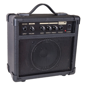"""<div>Neat and compact, the 10-watt Kinsman BB10BS bass amp features a robust speaker cabinet with closed-back construction for brilliant bass performance.</div><div><br></div><div>The BB10BS's straightforward control panel quickly allows you to set up a cracking tone with its 3-band rotary control EQ system, and there's also a headphone input for that all-important silent practice.</div><div><br></div><div>Input:</div><div>1/4"""" jack input. Designed for bass but will accept other instruments.</div><div><br></div><div>Volume:</div><div>Master output volume control for speaker or headphone output.</div><div><br></div><div>Equalisation Bass:</div><div>Adds extra bottom end for a rounder, deeper and smoother bass tone.</div><div><br></div><div>Middle:</div><div>Use this control carefully to get different kinds of bass tone. Less middle gives a more defined bass and treble and a clearer bass tone. Excessive amounts of middle gives a less distinct, nasal tone.</div><div><br></div><div>Treble:</div><div>Adds extra treble to the bass tone for additional 'bite' and attack. Too much will give an overly abrasive sound.</div><div><br></div><div>Phone:</div><div>Accepts normal 1/4"""" headphone jack plug for silent practice. Automatically cuts out the speaker.</div><div><br></div><div>Power:</div><div>Main on/off power switch.</div><div><br></div><div>Size:</div><div>23.5cm (H) x 24.5cm (W) x 12.4cm (D)</div><div><br></div><div>Weight:</div><div>2.95 Kg</div>"""