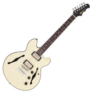 "<p>FRET KING BLACK LABEL ELISE - VINTAGE WHITE</p> <div>ELISE - Vintage White</div> <div> </div> <div>Inspired by a long heritage of semi-acoustic excellence, the Elise is an incredibly light, yet exceptionally resonant guitar with superior sonic performance and versatility.  <p><span>Carved from a solid mahogany blank, the Elise body has acoustically tuned chambers, a full length centre block, and double carved solid maple cap to create a vibrant semi acoustic body. </span></p> <p><span>The slick mahogany neck, with deluxe rosewood fingerboard, employs the Fret-King long-tenon neck joint, which mates precisely to the body underneath the neck pickup, forming a rigid fixed bond between neck and body, maximising the retention and transmission of the Elise's fundamental acoustic properties. </span></p> <p><span>Fret-King WVC double coils give the Elise a voice with unassailable authenticity, definition and the power required for everything from mellow jazz to full bore blues. Fitted with the Fret-King Vari-coil, the WVCs can be progressively wound back to emulate a P90, or produce sparkling traditional single coil tone. The Elise sounds just like it looks, and then produces voicings never associated with this style of guitar, but which would be at home on Ocean Boulevard or a Nashville `Honkey Tonk'.</span></p> <p> </p> </div> <p> </p> <table id=""product-attribute-specs-table"" class=""data-table""> <tbody> <tr class=""first odd""><th class=""label"">Colour</th> <td class=""data last"">Vintage White</td> </tr> <tr class=""even""><th class=""label"">Body</th> <td class=""data last"">Solid mahogany chambered body, solid maple cap</td> </tr> <tr class=""odd""><th class=""label"">Neck</th> <td class=""data last"">Mahogany</td> </tr> <tr class=""even""><th class=""label"">Fingerboard Radius</th> <td class=""data last"">12""</td> </tr> <tr class=""odd""><th class=""label"">Frets</th> <td class=""data last"">22 medium jumbo</td> </tr> <tr class=""even""><th class=""label"">Top Nut</th> <td class=""data last"">Graphite</td> </tr> <tr class=""odd""><th class=""label"">Nut Width</th> <td class=""data last"">1.67""/42.5mm nominal</td> </tr> <tr class=""even""><th class=""label"">Bridge</th> <td class=""data last"">Direct mounted tune-o-matic style with stop tailpiece</td> </tr> <tr class=""odd""><th class=""label"">Machine Heads</th> <td class=""data last"">Wilkinson WJ01</td> </tr> <tr class=""even""><th class=""label"">Pickups</th> <td class=""data last"">Fret-King WVC double coils with solid nickel covers and backing plate</td> </tr> <tr class=""odd""><th class=""label"">Controls</th> <td class=""data last"">Volume, tone, Vari-coil and 3-way toggle switch</td> </tr> <tr class=""last even""><th class=""label"">Includes</th> <td class=""data last"">Luxury genuine Fret-King carry bag</td> </tr> </tbody> </table>"