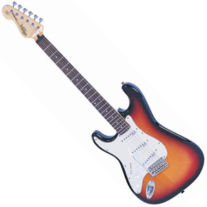 """<p>VINTAGE LEFT HAND GUITAR- SUNBURST</p> <p><span>The Vintage® V6 Series features the new Wilkinson® WVC original specification vibrato featuring authentic bent steel saddles for that classic sparkle and tone, precision machined pivot points for total """"return to pitch"""" accuracy, and a stagger drilled sustain block to prevent string hang-up.</span><br /><br /><span>A vintage bend, push-in arm completes this definitive vibrato system.</span><br /><br /><span>Attention to authentic tone continues, with the use of a matched, calibrated set of Wilkinson® Alnico single coil pickups; using a reverse wound, reverse polarity middle pickup for clarity and dynamics and featuring staggered edge, staggered pole pieces for focus and definition.</span><br /><br /><span>Featuring one volume and two tone controls, the five way lever switch and control circuitry are configured for maximum tone, evenness of response and output for supreme versatility.</span><br /><br /><span>Comfort contours and radiused edges give the body a familiarity whilst the vintage profile neck and 10"""" radius 22 fret, overhung fingerboard give an instantly familiar and comfortable feel.</span><br /><br /><span>Wilkinson® Vintage tuners featuring the patent pending E-Z-LOKGäó string lock system, quick and easy to use, with no tools, provides for hugely enhanced tuning stability, with super quick string change times.</span><br /><br /><span>Staggered string posts, providing the correct break angles across the top nut, ensure accurate tuning, correct string tensions for enhanced feel and aid tuning stability.</span></p> <p class=""""related-similar"""">VINTAGE VINTAGE LV6 LEFT HANDED FEATURES:</p> <ul> <li>Body: Eastern Poplar</li> <li>Neck: Hard Maple Bolt On</li> <li>Scale: 25.5""""/648mm</li> <li>Frets: 22</li> <li>Neck Inlays: Pearloid Dot</li> <li>Tuners: Wilkinson WJ55 E-Z-LOK</li> <li>Vibrato: Wilkinson WVC</li> <li>Pickups: Wilkinson Single Coil x 3 (N)WVS (M)WVS (B)WVS</li> <li>Hardware: Chrome</li> <li>Controls"""