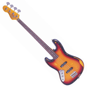 "<p>VINTAGE ICON FRETLESS BASS- SUNBURST- L/H</p> <p>Fretless Jazz Bass in a Distressed Sunburst Finish, looks just like Jaco's</p> <p>If you have a taste for something different but at the same time so well known, this is your bass. Now you can get the true flavour of those famous bass lines from one of the most distinctive jazz rock bass players ever – check the fretless neck with the fret lines and dot markers still visible; no scratchplate but with the screw holes still open, and only the chrome control panel plate left; oooh... that patterned scarring... keep an eye on the weather!<br />'The V74 is great value for money '<br />'The V74 has pre-drilled holes for a scratchplate although one isn't present – a nice touch, that lends the bass that powerful 'Jaco' vibe.'</p> <ul> <li>Body: Eastern Poplar</li> <li>Neck: Hard Maple – Bolt On</li> <li>Scale: 34""/864mm</li> <li>Frets: Fretless</li> <li>Neck Inlays: Pearloid Dot</li> <li>Tuners: Wilkinson® WJBL200</li> <li>Bridge: Adjustable</li> <li>Pickups: Wilkinson® JB x 2 (M) WJB00, (B) WJB800</li> <li>Hardware: Nickel</li> <li>Controls: 1 Volume/ 1 Tone</li> </ul>"