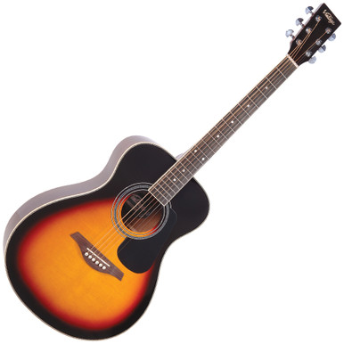 "<p>VINTAGE FOLK GUITAR- SOLID TOP- VINTAGE SUNBURST</p> <p>The Vintage V300 acoustic guitar in Vintage Sunburst - voted 'Best acoustic guitar under 1000' by Guitar Magazine.  ""This little concert acoustic is stonkingly good"", continued TGM, adding, ""A comfortable, fast playing neck, plus good dynamics and volume from the parlour-esque body.  At this price, go buy.  Every home should have one.""</p>"