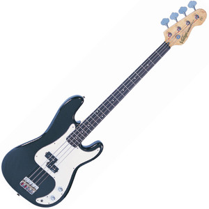 """<p>VINTAGE BASS GUITAR-BOULEVARD BLACK</p> <p>The heart of a good bass sound lies with the string anchoring, and the V4s bridge makes sure that's the way it stays. Face mounted and fully adjustable, the rear loaded strings pass over the V4's chunky brass bridge saddles for maximum bottom end tone</p> <p></p> <h2>Features / Specifications:</h2> <ul> <li><strong>Body:</strong> Eastern Poplar</li> <li><strong>Neck:</strong> Hard Maple - Bolt On</li> <li><strong>Scale:</strong> 34""""/864mm</li> <li><strong>Frets:</strong> 20</li> <li><strong>Neck Inlays:</strong> Pearloid Dot</li> <li><strong>Tuners:</strong> Wilkinson® WJBL200</li> <li><strong>Bridge:</strong> Adjustable</li> <li><strong>Pickups:</strong> Wilkinson® PB x 1 (M) WPB</li> <li><strong>Hardware:</strong> Chrome</li> <li><strong>Controls:</strong> 1 x Volume/ 1 x Tone</li> </ul>"""