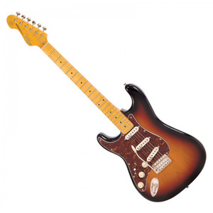 <p>VINTAGE LEFT HANDED GUITAR- MAPLE FINGERBOARD - SUNSET SUNBURST</p> <p>The Vintage V6 Series offers an extraordinarily high level of specification, with many built-in custom shop level features. These include the revered Wilkinson WVC original specification vibrato featuring authentic bent steel saddles for that classic sparkle and tone; precision machined pivot points for total 'return to pitch' accuracy and a stagger-drilled sustain block to prevent string hang-up. An adjustable, 'vintage bend' push-in arm completes this definitive vibrato system.</p> <p>Attention to authentic tone continues with the use of a matched and calibrated set of Wilkinson Alnico V single coil pickups, using a reverse wound/reverse polarity middle pickup for clarity and dynamics and feature true vintage-style chamfered edge polepieces. With one volume and two tone controls, the 5-way lever switch and control circuitry are configured for maximum tone, evenness of response and output for supreme versatility.</p>