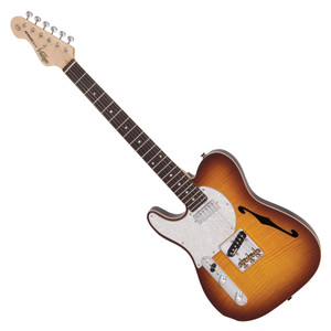 """<p>VINTAGE LEFT HANDED V72 TL DELUXE - FLAME TOBACCO BURST</p> <p><strong>With a wonderful blend of 'old' and 'new era' the V72FTB features a neck mounted Wilkinson WDG mini double coil pickup, which produces a focussed broad spectrum tone, allied to the classic voice of a Wilkinson Alnico V WVTB housed ina Wilkinson WTB bridge, with its cold rolled steel 'ashtray' base and intonated brass saddles.</strong></p> <table id=""""product-attribute-specs-table"""" class=""""data-table""""> <tbody> <tr class=""""first odd""""><th class=""""label"""">Colour</th> <td class=""""data last"""">Flame Tobacco Burst</td> </tr> <tr class=""""even""""><th class=""""label"""">Body</th> <td class=""""data last"""">American Alder w/Acoustic Chambers, Book Matched Flame Maple Veneer top</td> </tr> <tr class=""""odd""""><th class=""""label"""">Neck</th> <td class=""""data last"""">One Piece Hard Maple – Bolt-on</td> </tr> <tr class=""""even""""><th class=""""label"""">Frets</th> <td class=""""data last"""">22 Medium</td> </tr> <tr class=""""odd""""><th class=""""label"""">Bridge</th> <td class=""""data last"""">Wilkinson® WTB intonatable</td> </tr> <tr class=""""even""""><th class=""""label"""">Machine Heads</th> <td class=""""data last"""">Wilkinson® WJ55</td> </tr> <tr class=""""odd""""><th class=""""label"""">Pickups</th> <td class=""""data last"""">Wilkinson® 1 WDG (N), 1 WTB (B)</td> </tr> <tr class=""""last even""""><th class=""""label"""">Controls</th> <td class=""""data last"""">Volume/ Tone/ 3-Way Lever</td> </tr> </tbody> </table>"""