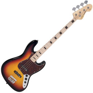 "<p>VINTAGE BASS - MAPLE BOARD - SUNSET SUNBURST</p> <p>Vintage VJ74MSSB, 4-string electric bass, reissued series,  poplar body, bolt-on maple neck, maple fretboard with  black block inlays, 20 frets, 34"" long scale, 1x Wilkinson  WJB00 (middle) & 1x WJB800 (bridge) pickups, 2x volume  control, 1x tone control, chrome hardware, Wilkinson  WJBL200 tuners, finish: sunset sunburst</p>"
