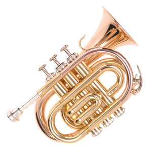 "<div>For the young student who wants to start on a brass instrument and the gigging trumpet player who needs to take a practice instrument on the road with them.</div> <div>The pocket trumpet features a bell and lead pipe in rose brass and a handy throw on the main tuning slide to fine tune as you play.</div> <div> </div> <div><strong>Specification</strong></div> <div>• Rose brass bell and lead pipe</div> <div>• Brass tuning slides</div> <div>• Throwable main tuning slide</div> <div>• Stainless steel valves</div> <div>• Water key</div> <div>• Mouthpiece 7C Included</div> <div>• Clear lacquered finish</div> <div>• Bell diameter: 93.20mm/3.7""</div> <div>• Bore size: 11.65mm/0.45""</div> <div>• Zero-gravity 'backpack' hard foam case Canvas covered, plush lined with shoulder straps</div> <div>• Accessories: Gloves, cleaning cloth, oil</div>"