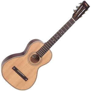 <p>VINTAGE VIATOR TRAVEL GUITAR AND BAG- BY PAUL BRETT</p> <p>This guitar will suit both beginners and professionals who want to have a great sounding and affordable guitar that they can fit into small spaces for travelling convenience. My inspiration for this guitar came from the early 20th century style of guitars and the sound the Viator produces both in fingerstyle and strumming modes is very much reminiscent of that era. I have tried most styles on it, from blues, jazz, plectrum and picking through to classical, folk and open tunings – and yes, with lighter strings on it will play beautifully in Terz tuning.</p>
