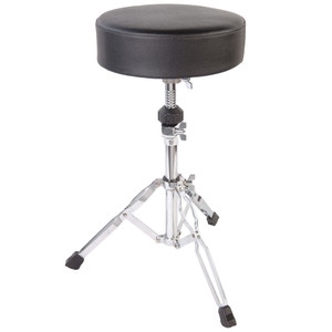 """32mm and 25mm diameter steel tubing. Double braced fully adjustable stool with 11.5"""" diameter & 3"""" thick padded seat. These PP Drums stands have incredibly smooth action and rock solid clamping brackets so they won't let you down when you need it most! Large non-slip feet ensure your stands stay put under the heaviest use."""