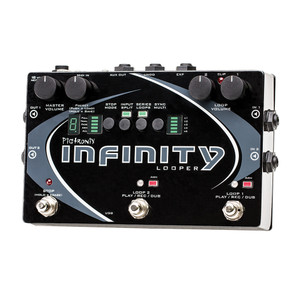 """<p>PIGTRONIX INFINITY LOOPER</p> <p>Pigtronix's state of the art looping platform provides instantaneous record, playback, dub, undo and redo on two stereo loop pairs that can be configured in several ways. AS well as this looper's superior speed and unique performance friendly feature set, the Infinity Looper<strong>sounds incredible</strong>because of its discreet analogue limiter stages, transparent analogue pass-through and 24 bit/48kHz HD recording engine.</p> <p class=""""br""""></p> <p class=""""br""""></p> <p class=""""br""""></p> <p class=""""br""""></p> <p class=""""br""""></p> <p>The innovative SYNC MULTI mode provides a multiplier function which allows the length of loop 2 to be 1, 2, 3, 4 or 6 times the length of loop 1. The two loops can also be run out of sync or even in series, for verse/chorus song structures. Ninja style input<strong>split mode</strong>assigns input 1 to loop 1 and input 2 to loop 2, allowing you to record and overdub separate instruments on separate loops, into isolated amps simultaneously.</p> <p>The Pigtronix Infinity also provides a long awaited AUX Loop output intended to send looped audio to stage monitors. This is especially helpful for drummers to hear and stay in time. An expression pedal jack for loop volume allows hands free control of the overall audio output. A MIDI input for beat clock sync causes loop start and stop points to obey Pro Tools or any other DAW/Sequencer that outputs MIDI. The Infinity Looper's USB access allows you to<strong>transfer your music</strong>to computer at full 24 bit, m48 kHz resolution for further mixing, mastering or immediate publication. Pigtronix have also implemented audio upload with automatic format conversion meaning you can upload virtually any digital audio file.</p> <p class=""""br""""></p> <h2>Features/Specifications</h2> <ul> <li>2 Stereo Loops with Sync</li> <li>Loop 2 Multiplier x1, x2, x3, x4, x6</li> <li>Series or Parallel Looping Modes</li> <li>9 loop presets + 1 blank canvas</li> <li>24bit / 48kHz recording"""