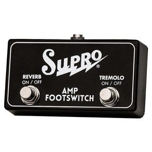 <p>SUPRO DUAL FOOTSWITCH TREMOLO & REVERB ON/OFF REMOTE</p> <p><span>Two button TRS footswitch for use with Supro Models that include both Reverb and Tremolo.</span><br /><br /><span>Use with:</span><br /><span>1622RT Tremo-Verb </span><br /><span>1642RT Titan</span><br /><span>1668RT Jupiter </span><br /><span>1648RT Saturn</span><br /><span>1675RT Rhythm Master </span><br /><span>1650RT Royal Reverb</span></p>
