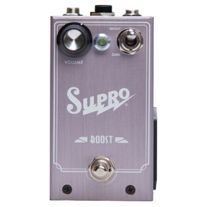 <p>SUPRO BOOST EFFECT PEDAL</p> <p><span>Supro Boost is a J-FET based pedal that delivers up to 20dB of noiseless gain boost plus optional treble cut or bass cut to contour your sound.</span><br /><span>The Supro Boost pedal sports a simple control layout with a single Volume knob and an oversized toggle switch to select BRIGHT, FLAT or DARK overall frequency response. The BRIGHT mode enables a 6dB / octave HP (high pass) filter for thinning out humbucker guitars when adding boost to increase sparkle and prevent mud. The DARK mode enables a 6dB / octave LP (low pass) filter for fattening up single coil guitars when adding boost to increase warmth and prevent harshness. Taking the boost pedal one step further, the Supro Boost offers a TRS port for expression pedal control of the VOLUME knob.</span><br /><br /><span>Features:</span><br /><span>• Frequency linear boost up to 20db</span><br /><span>• 6db per octave High Pass Filter option</span><br /><span>• 6db per octave Low Pass Filter option</span><br /><span>• Expression pedal control for VOLUME</span><br /><span>• Accepts standard 2.1mm neg. tip power supply</span><br /><span>• Runs on 9V battery (included)</span><br /><span>• Current Draw below 20mA</span><br /><span>• Original circuit design by Thomas Elliott</span></p>