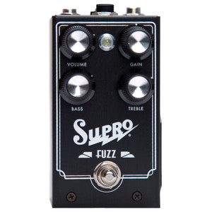 "<p>SUPRO FUZZ EFFECT PEDAL</p> <p><span>Supro Fuzz combines the ruthless sustain of a silver box Big Muff with the harmonic signature of a Tone Bender MkII and the unrivaled touch dynamics of a germanium Fuzz Face. The Supro Fuzz takes this ""best-of-all-worlds"" approach to old school fuzz using an N.O.S. Germanium transistor in the first stage, followed by secondary, silicon-based gain and a dash of our special sauce to create a low-noise, high-gain fuzz box with 2-band EQ that will leave you deaf and breathless. Taking the fuzz pedal one step further, the Supro Fuzz offers a TRS port for expression pedal control of the TREBLE knob.</span><br /><br /><span>Features:</span><br /><span>• ""Best-of-all-worlds"" original fuzz design</span><br /><span>• NOS UK-made Germanium transistor front end</span><br /><span>• 2-band Treble / Bass EQ controls</span><br /><span>• Expression pedal control for TREBLE</span><br /><span>• Accepts standard 2.1mm neg. tip power supply</span><br /><span>• Runs on 9V battery (included)</span><br /><span>• Current Draw below 20mA</span><br /><span>• Original circuit design by Thomas Elliott</span></p>"