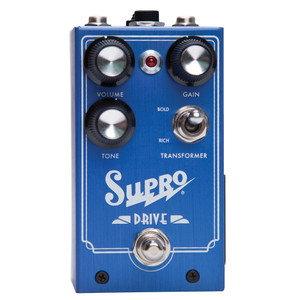 <p>SUPRO DRIVE EFFECT PEDAL</p> <p><span>This ground-breaking analog pedalre-creates the circuitry of a Supro ampfrom end to end, including an actual output transformer. Going far beyond the Supro preamp clones that have emerged with the rising popularity of the brand, house engineer Thomas Elliott created a new circuit which reflects every aspect of the Supro tube amp, including the magnetic saturation of an output transformer. This unique approach yields the most realistic-sounding overdrive pedal ever made—with greater range of gain, dynamics and natural compression than the industry standard overdrive designs or any of their many derivatives. Taking the overdrive pedal platform one step further, Supro Drive offers a TRS port for expression pedal control of the GAIN knob.</span><br /><br /><span>Features:</span><br /><span>• Emulates a Class-A Supro amp from end to end</span><br /><span>• Achieves magnetic saturation via output transformer</span><br /><span>• Switchable RICH or BOLD transformer windings selection</span><br /><span>• Expression pedal control for GAIN</span><br /><span>• Accepts standard 2.1mm neg. tip power supply</span><br /><span>• Runs on 9V battery (included)</span><br /><span>• Current Draw below 20mA</span><br /><span>• Original circuit design by Thomas Elliott</span></p>