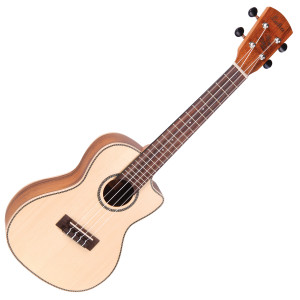 <p>VINTAGE LAKA SERIES E/A CONCERT UKULELE - SOLID SPRUCE/KOA</p> <p><span>A Concert-sized instrument, this version greatly expands the versatility of the uke as an instrument. Here, the solid sitka spruce top is mated to koa back and sides for a different tonal variation from the instrument. Features Grover open gear tuners for improved tuning stability. The cutaway body offers improved upper fret access and being an electro-acoustic, the VUC80EA is fitted with a Fishman Sonitone onboard preamp system.</span></p>