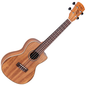 <p>VINTAGE LAKA SERIES E/A CONCERT UKULELE - SOLID KOA</p> <p><span>The same solid koa top/koa body construction, this time in a cutaway body format, with Fishman Sonitone preamp.Designed to meet the needs of Laka ukuleles, the new Fishman Sonitone onboard preamp system features a concealed soundhole-mounted preamp with rotary controls for Volume and Tone. The accompanying Fishman Sonicore pickup comes standard, providing solder-free maintenance with combination battery box and output jack.</span></p> <p></p>