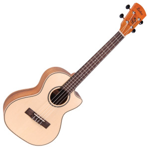 <p>VINTAGE LAKA SERIES E/A TENOR UKULELE - SOLID SPRUCE/KOA</p> <p>The Tenor uke is a larger bodied instrument than the Concert, and can sometimes be seen in a variation of string format layouts, with 6 and even 8 string versions available. </p> <p>The cutaway-bodied Laka VUT80EA also offers a solid sitka spruce top, koa back and sides, Grover tuners and Fishman Sonitone system. Designed to meet the needs of Laka ukuleles, the new Fishman Sonitone onboard preamp system features a concealed soundhole-mounted preamp with rotary controls for Volume and Tone. The accompanying Fishman Sonicore pickup comes standard, providing solder-free maintenance with combination battery box and output jack.</p>