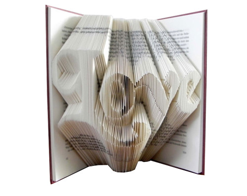 "This folded book sculpture says ""Love"" in a script font"