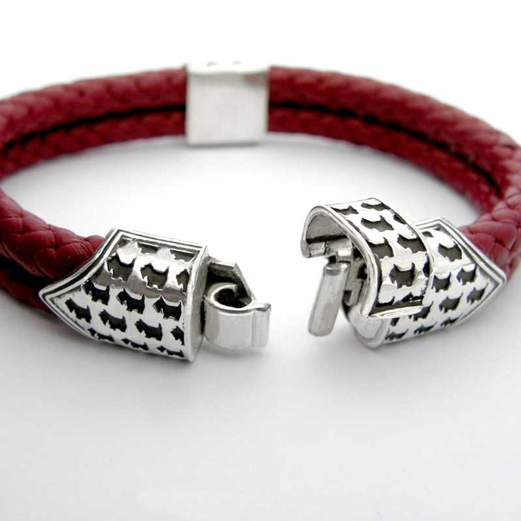 Scottie Clasp Braided Leather Bracelet