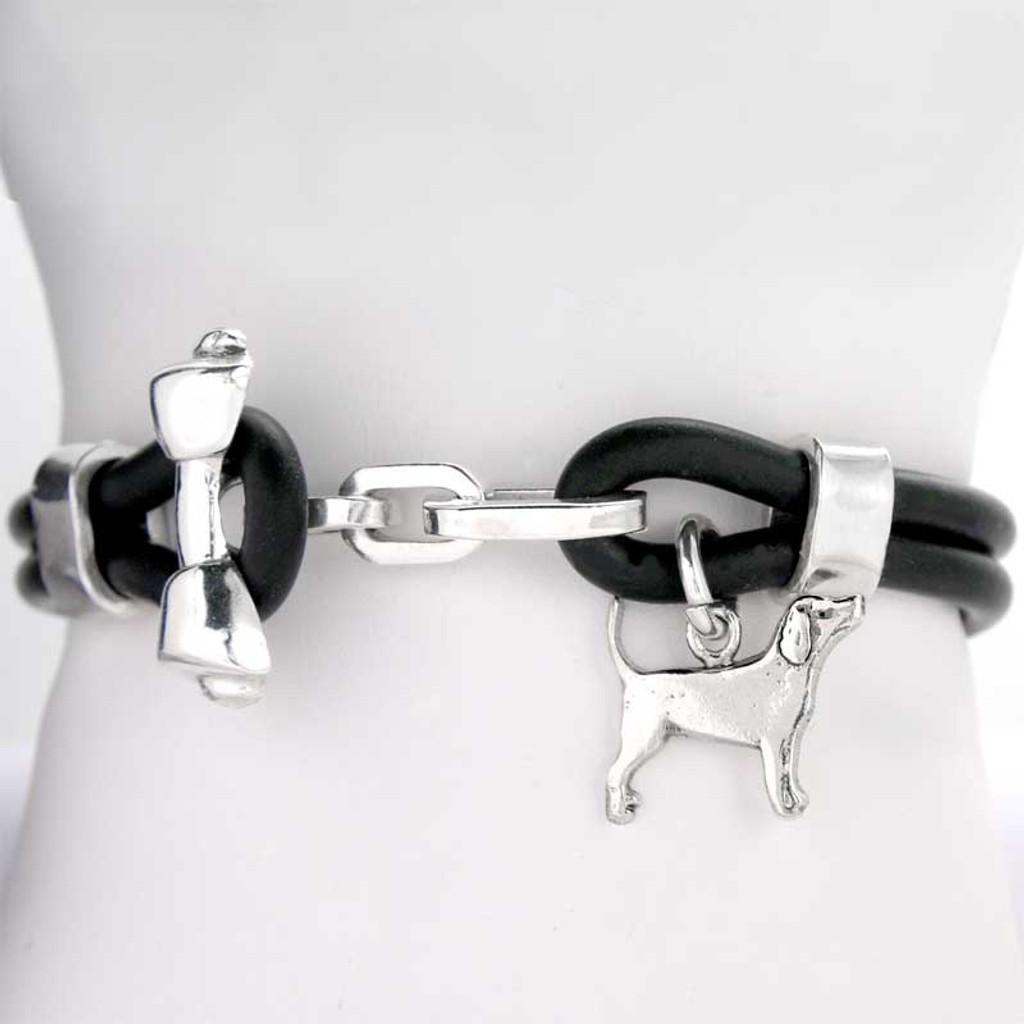 Rawhide Bone Toggle Rubber Bracelet