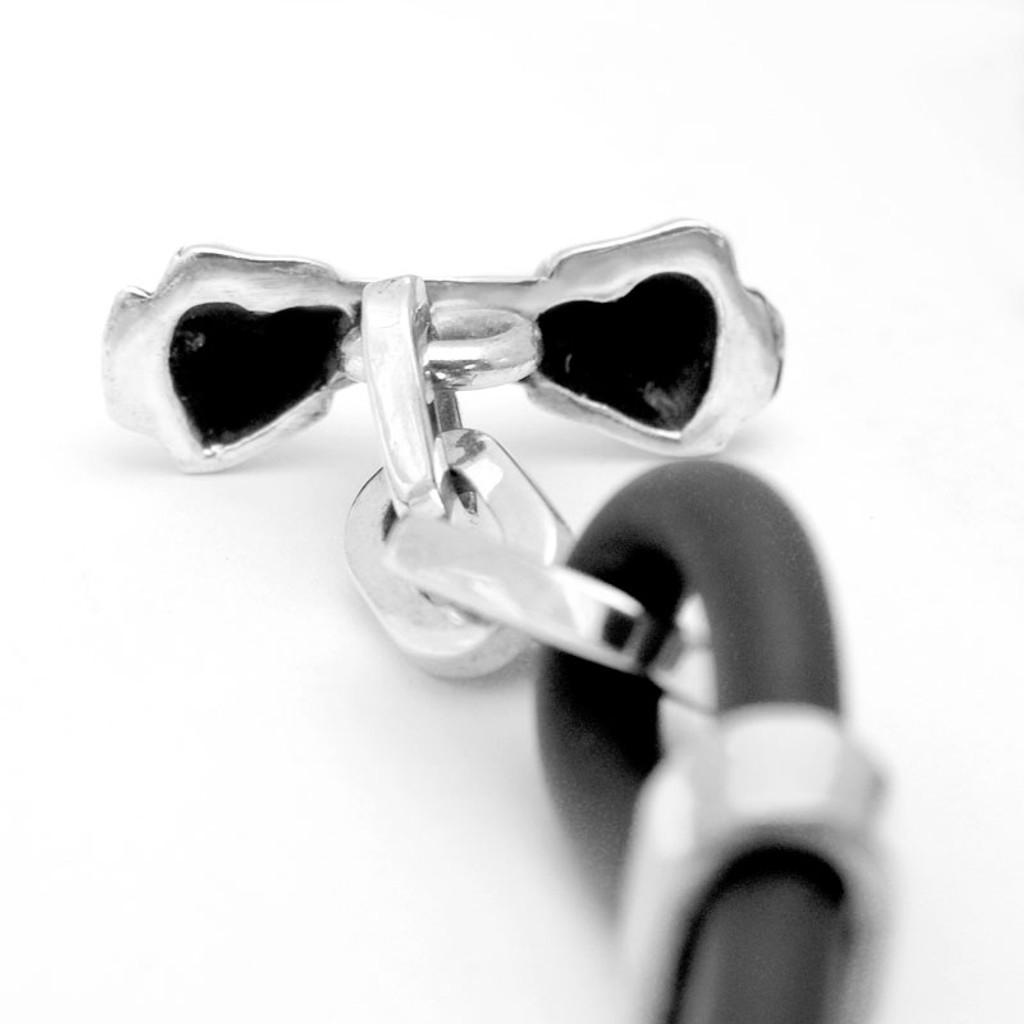 Bone Silver and Rubber Bracelet