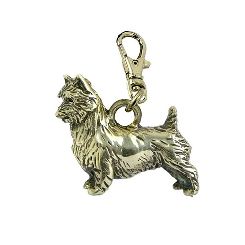 Australian Terrier Zipper Pull Brass