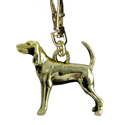 Black and Tan Coonhound Zipper Pull Brass