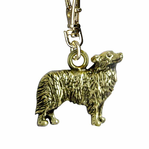 Border Collie Zipper Pull Brass