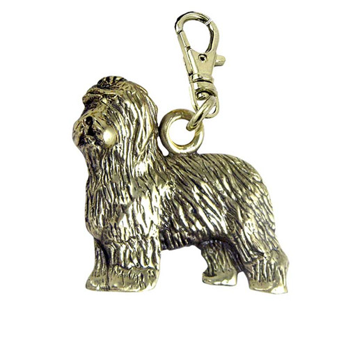 Old English Sheepdog Zipper Pull Brass