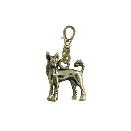 Chinese Crested Zipper Pull Brass
