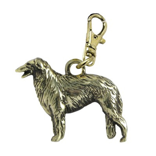 Borzoi Zipper Pull Brass