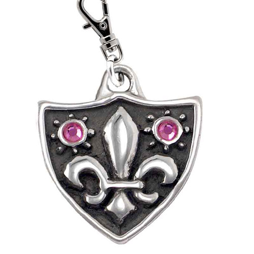 Fleur de Lys Dog Tag with Swarovski Crystals Silver