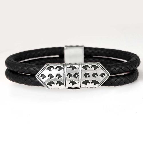 Horse Clasp Braided Leather Bracelet