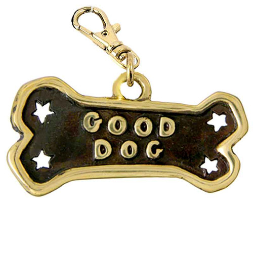 Good Dog Bone ID Tag Brass