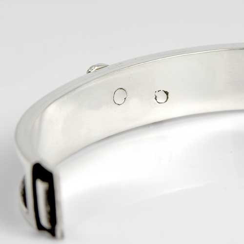 Bangle Bracelet in Black Heavy Silver with Dog