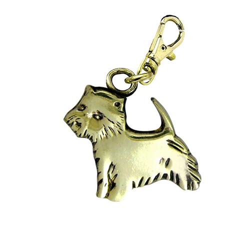 Westie Zipper Pull Brass