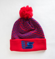 CCM Striped Cuffed Knit Beanie w/Pom   (Red/Navy)