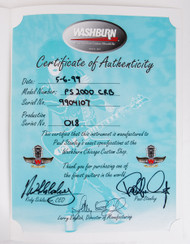 KISS Autograph - Paul Stanley Washburn Certificate, signed by Paul