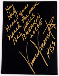 Vinnie Vincent Autograph - Black Canvas Art Board, All Hell's Breakin' Loose, (8/50, gold)