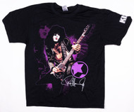 KISS T-Shirt - Paul Purple Background, Logo on Sleeve, (Washed and Worn), size L