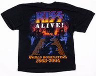 KISS T-Shirt - World Domination KISS Alive! w/tourdates, (Washed and Worn), size L