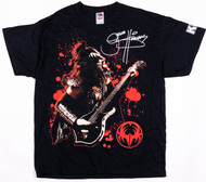 KISS T-Shirt - Gene Red Background, Logo on Sleeve, (Washed and Worn), size L