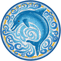 Large Mosaic Single Dolphin