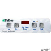 Balboa Water Group Overlay,E4 Lite Duplex Led (2 Pump,No Blower,Light)(54104) - 10752